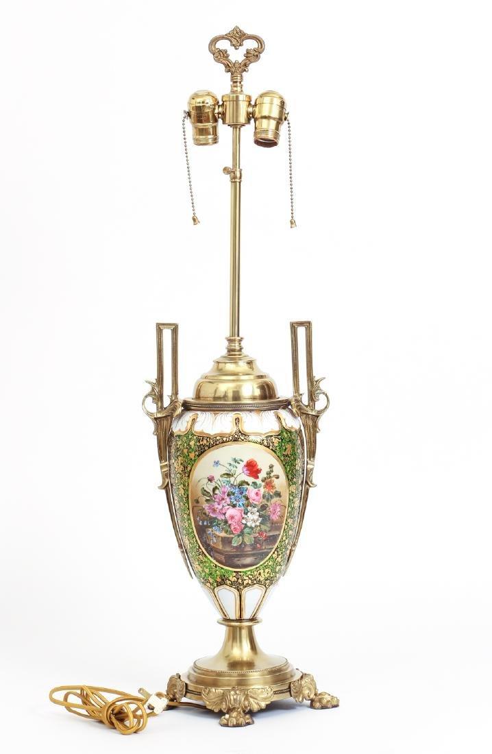Antique Bohemian Enamel and Cut Glass Vase as Lamp - 3