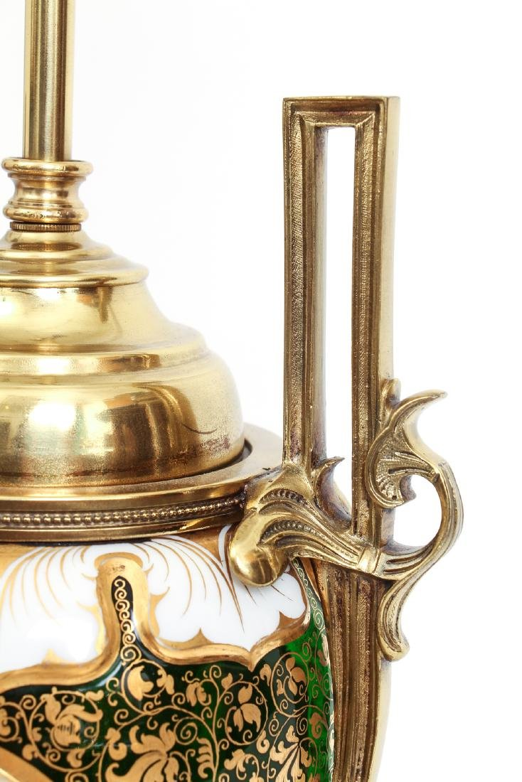 Antique Bohemian Enamel and Cut Glass Vase as Lamp - 5