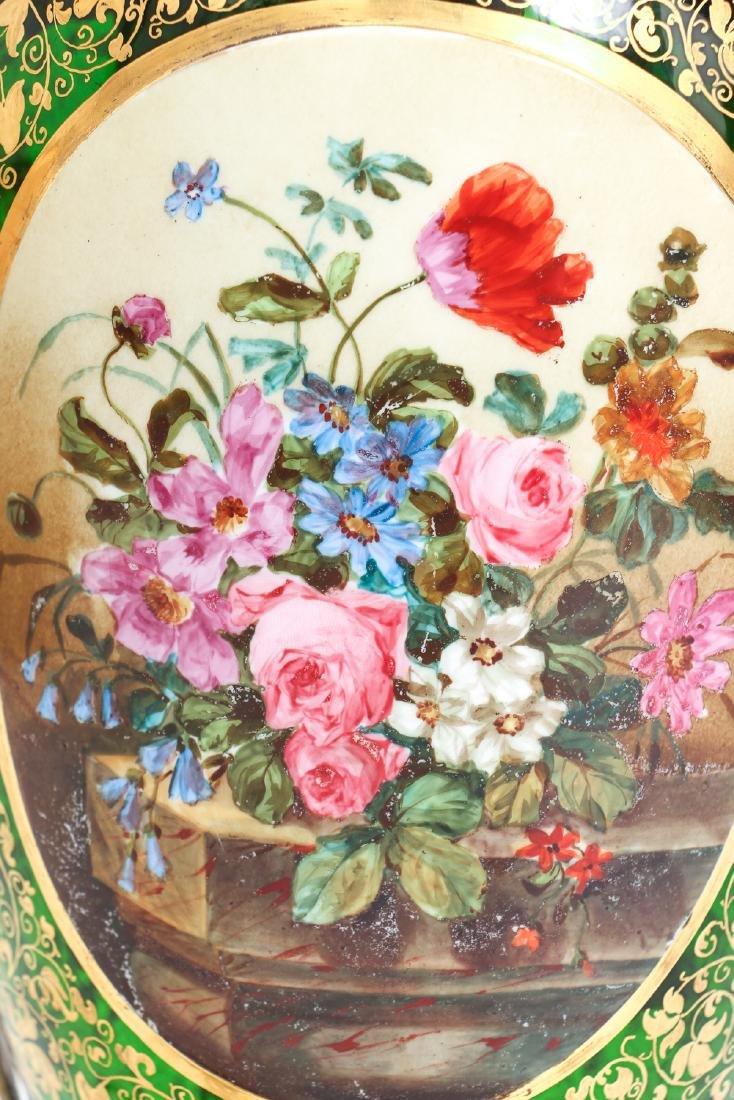 Antique Bohemian Enamel and Cut Glass Vase as Lamp - 6