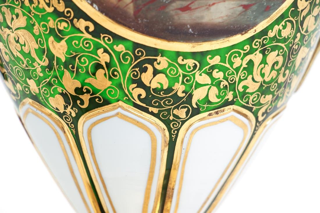 Antique Bohemian Enamel and Cut Glass Vase as Lamp - 7
