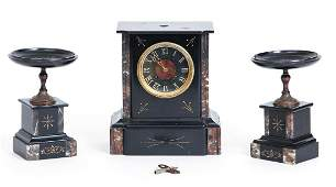 Antique Victorian French Marble Mantle Clock and
