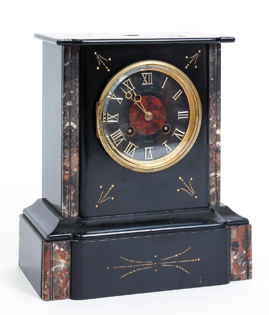 Antique Victorian French Marble Mantle Clock and - 2