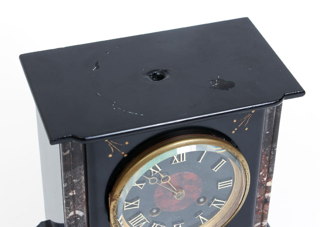 Antique Victorian French Marble Mantle Clock and - 3