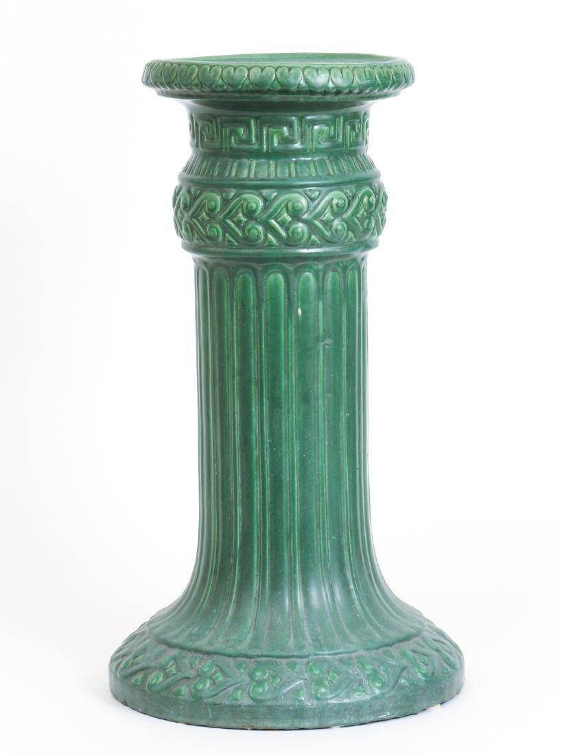 Arts and Crafts Mat Green Glaze Pedestal
