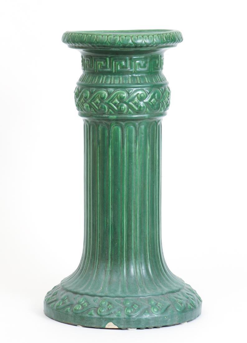 Arts and Crafts Mat Green Glaze Pedestal - 2