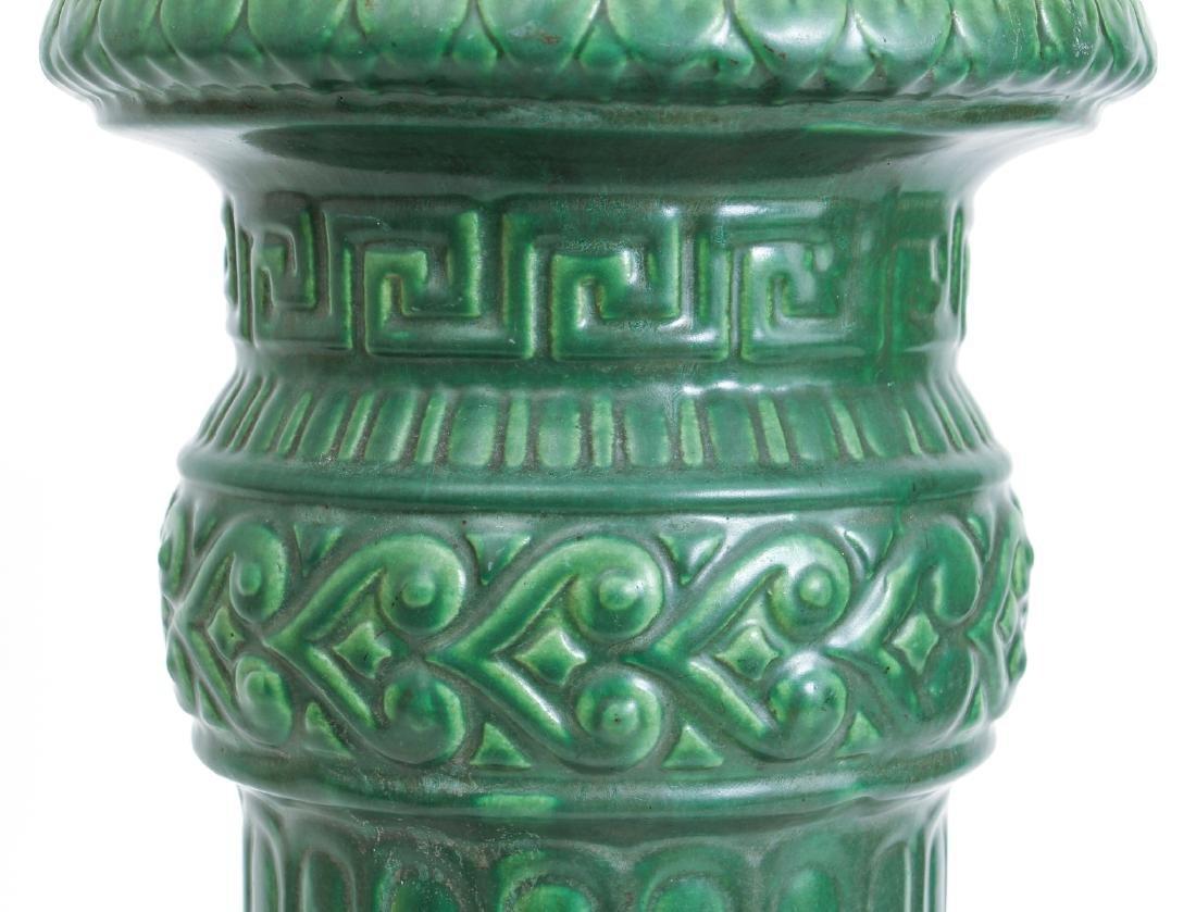 Arts and Crafts Mat Green Glaze Pedestal - 5