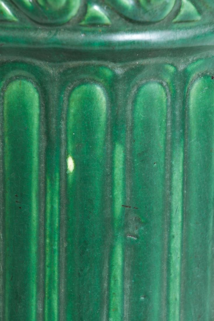 Arts and Crafts Mat Green Glaze Pedestal - 6