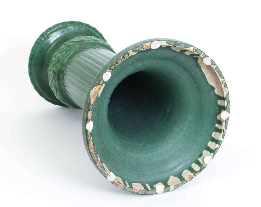 Arts and Crafts Mat Green Glaze Pedestal - 9