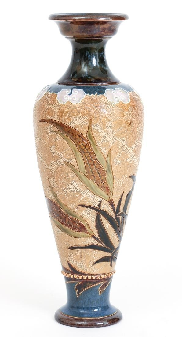 Doulton Lambeth Tapestry Vase with Corn Design