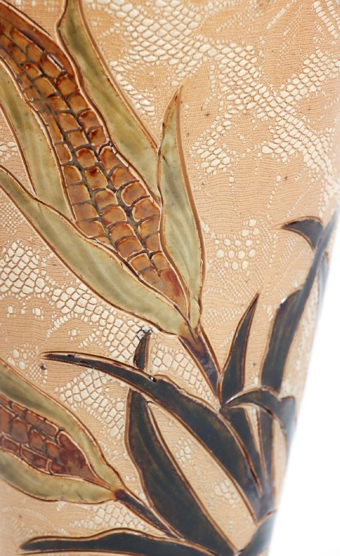Doulton Lambeth Tapestry Vase with Corn Design - 5