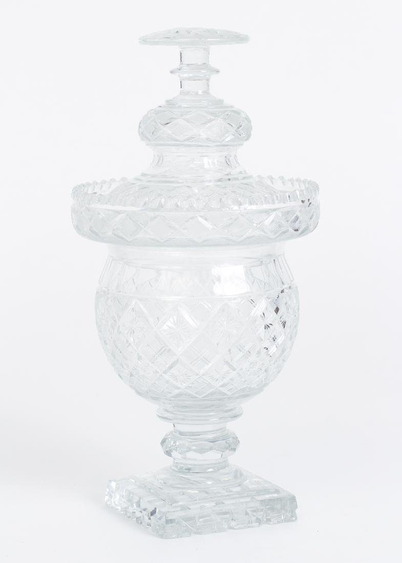 Early Cut Glass Lidded and Footed Urn