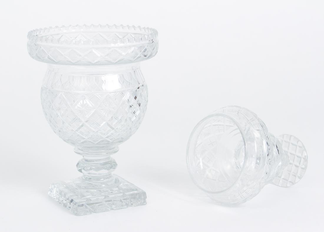 Early Cut Glass Lidded and Footed Urn - 2