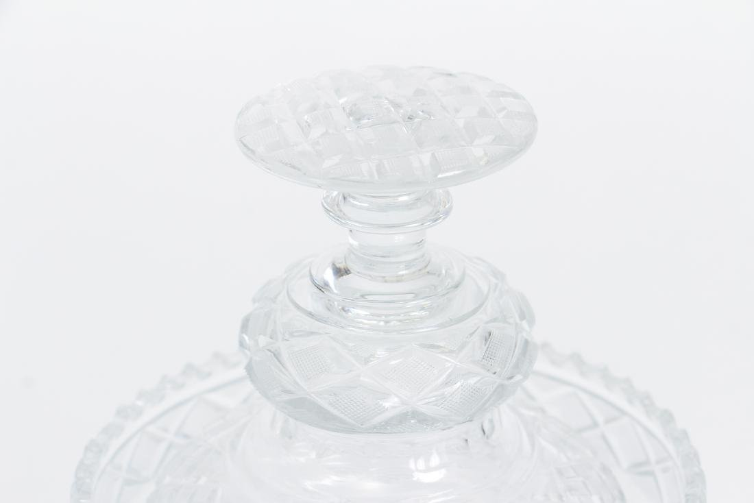 Early Cut Glass Lidded and Footed Urn - 3