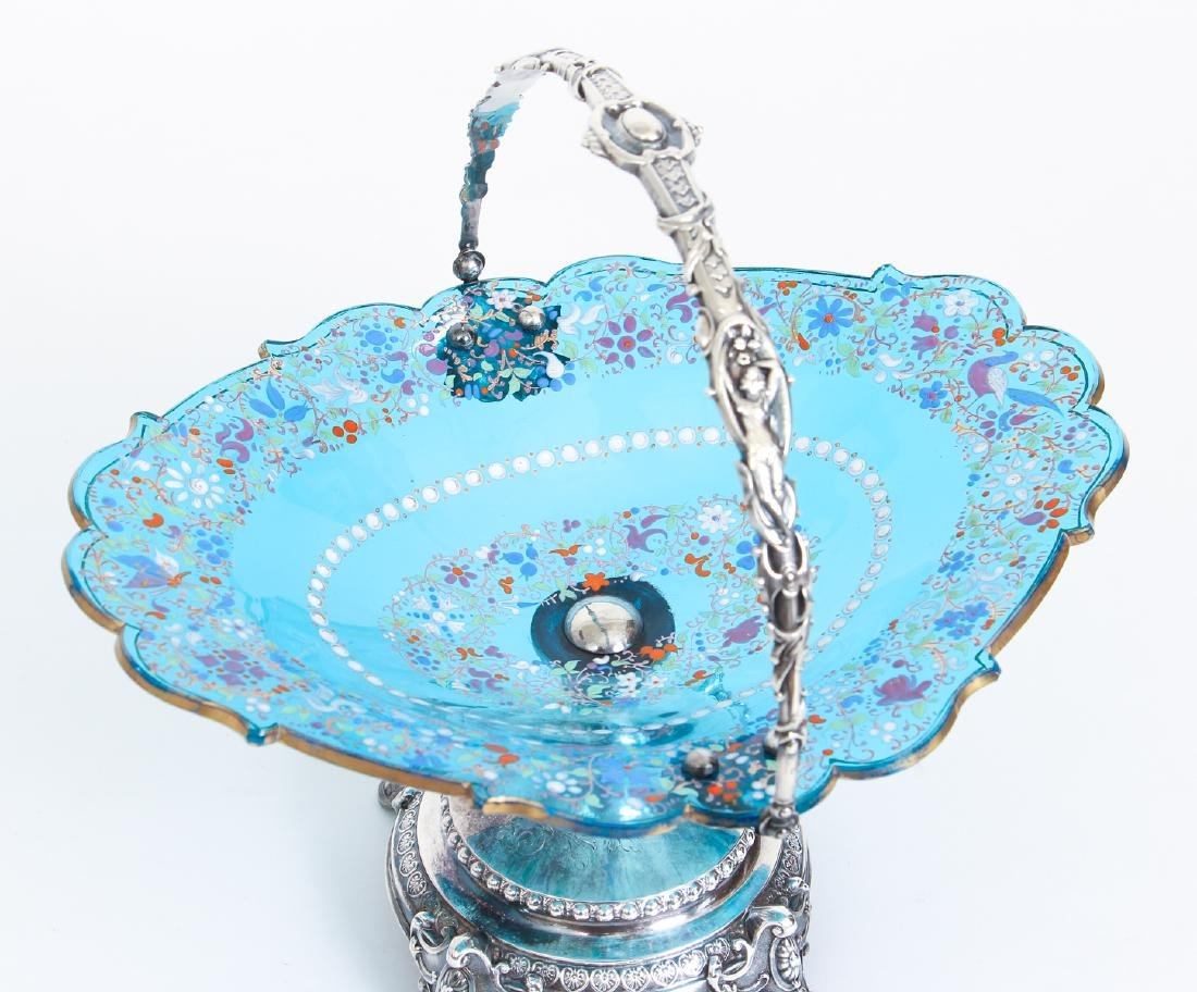 Elaborate Art Nouveau Silver and Enameled Glass Compote - 2