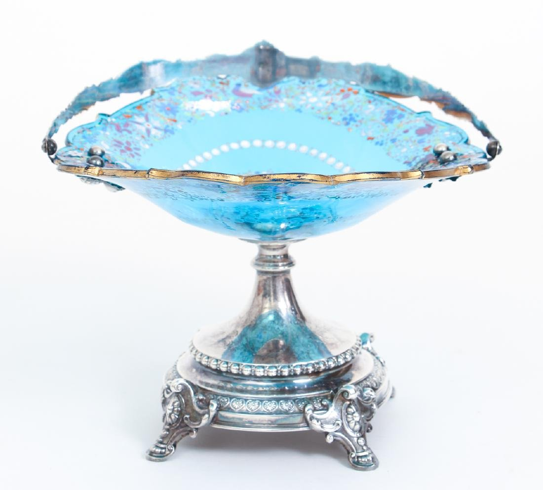 Elaborate Art Nouveau Silver and Enameled Glass Compote - 6