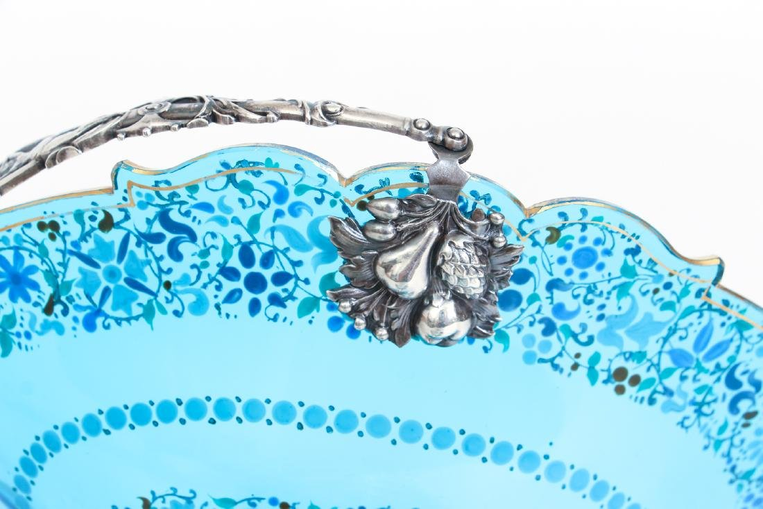 Elaborate Art Nouveau Silver and Enameled Glass Compote - 7