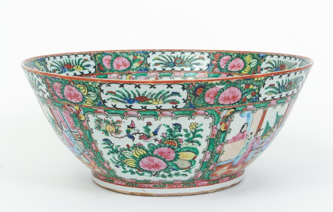 Large Famille Rose Punch Bowl