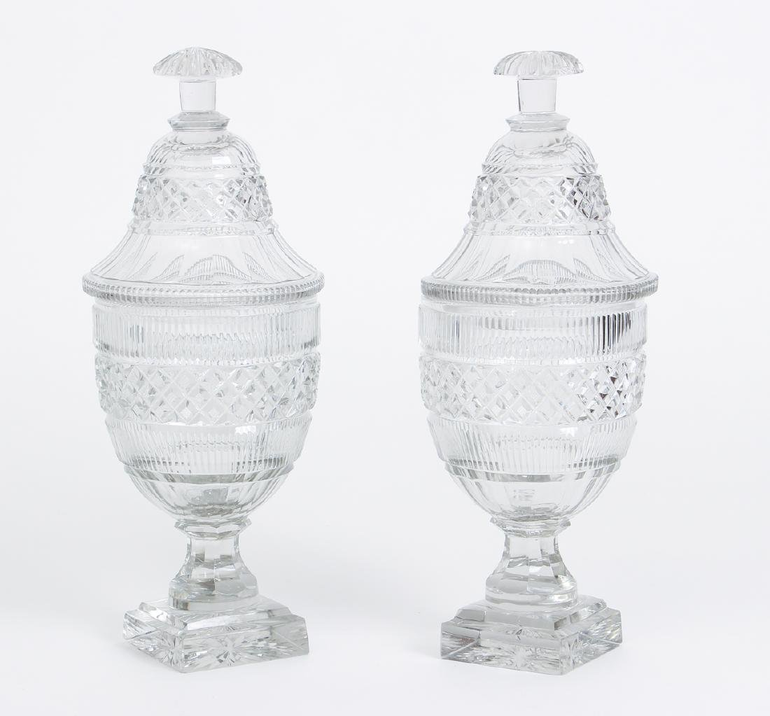 Pair of Early Cut Glass Lidded and Footed Urns