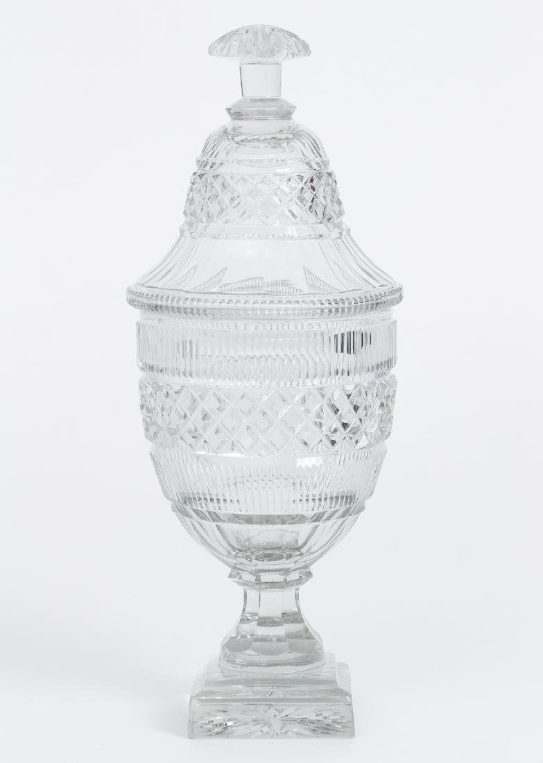 Pair of Early Cut Glass Lidded and Footed Urns - 2