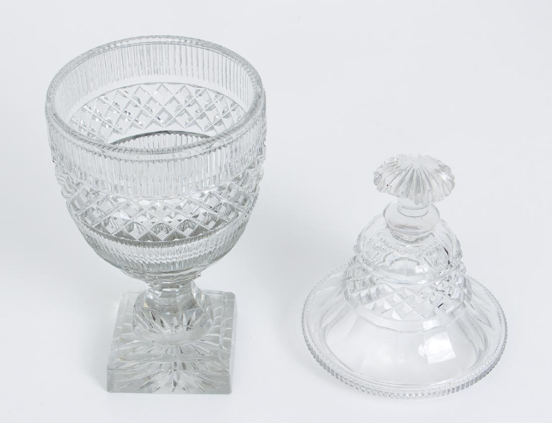 Pair of Early Cut Glass Lidded and Footed Urns - 3