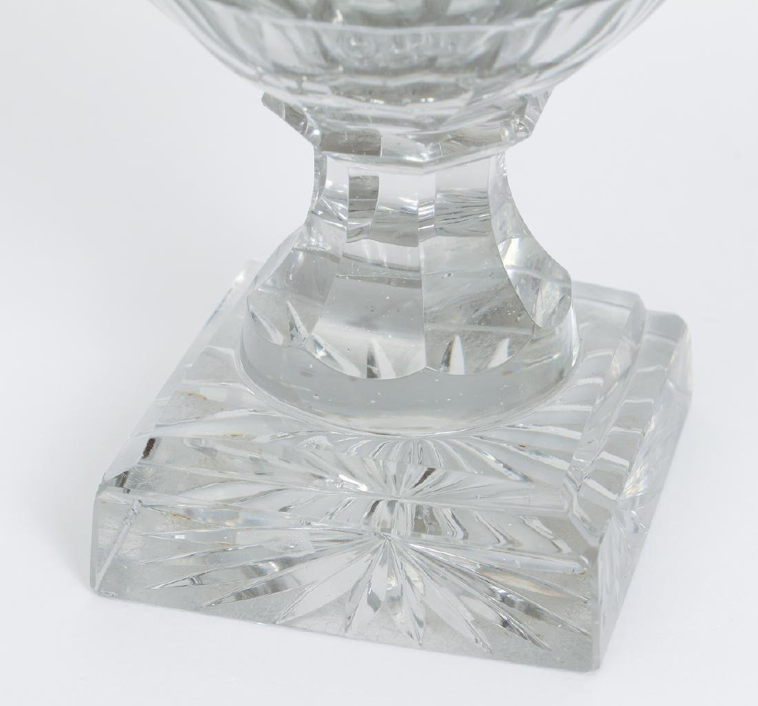 Pair of Early Cut Glass Lidded and Footed Urns - 8