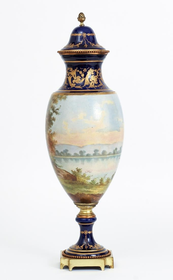Pair of Sevres Style Lidded Urns Decorated by Collot - 4
