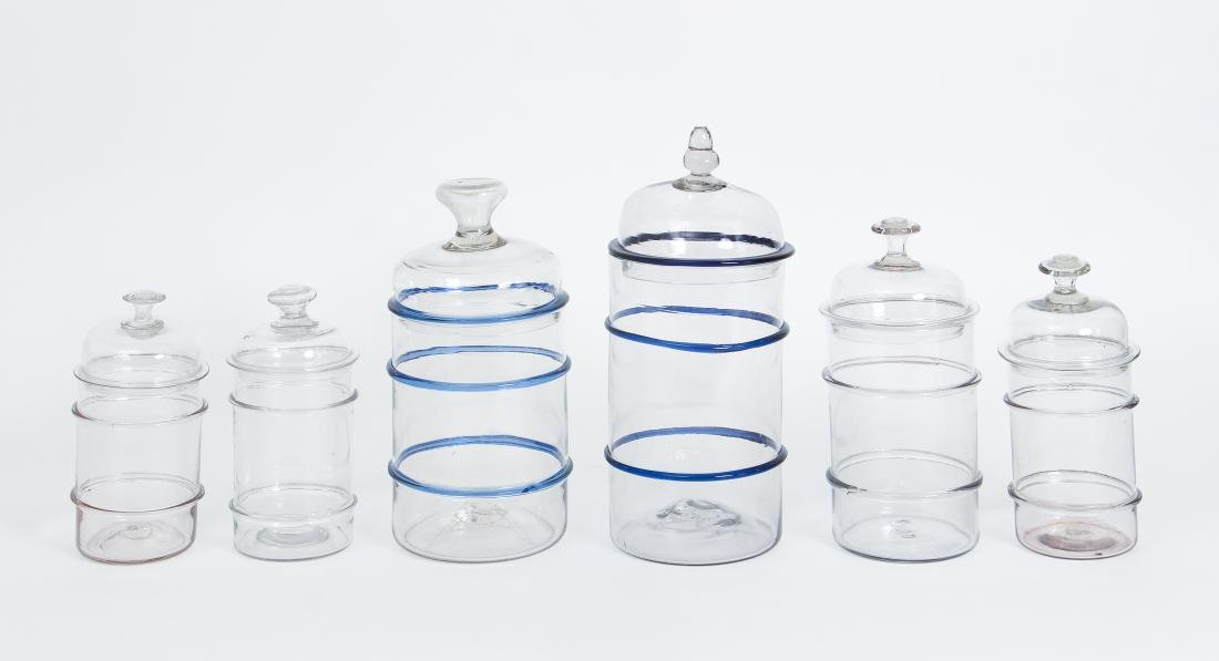 Six Antique Blown Glass Ribbed Canisters