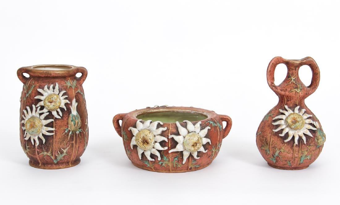 Three Amphora Thistle Themed Pottery Pieces