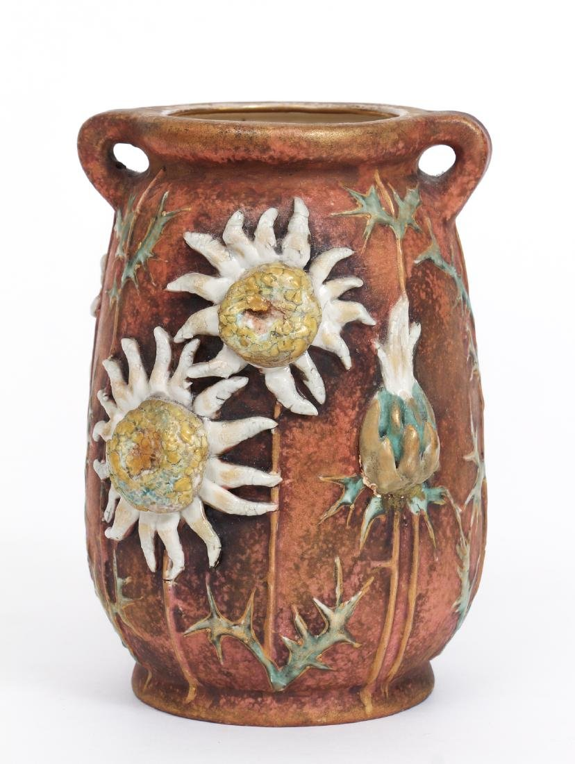 Three Amphora Thistle Themed Pottery Pieces - 2