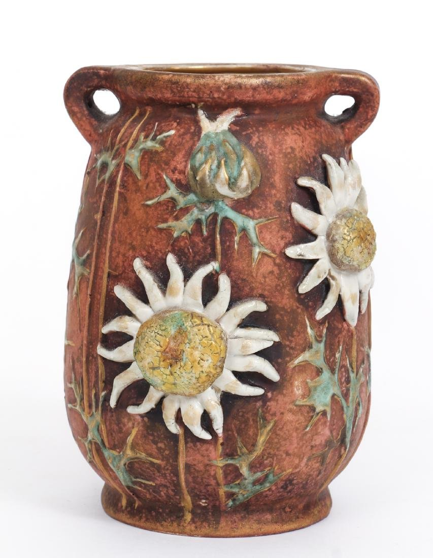 Three Amphora Thistle Themed Pottery Pieces - 3