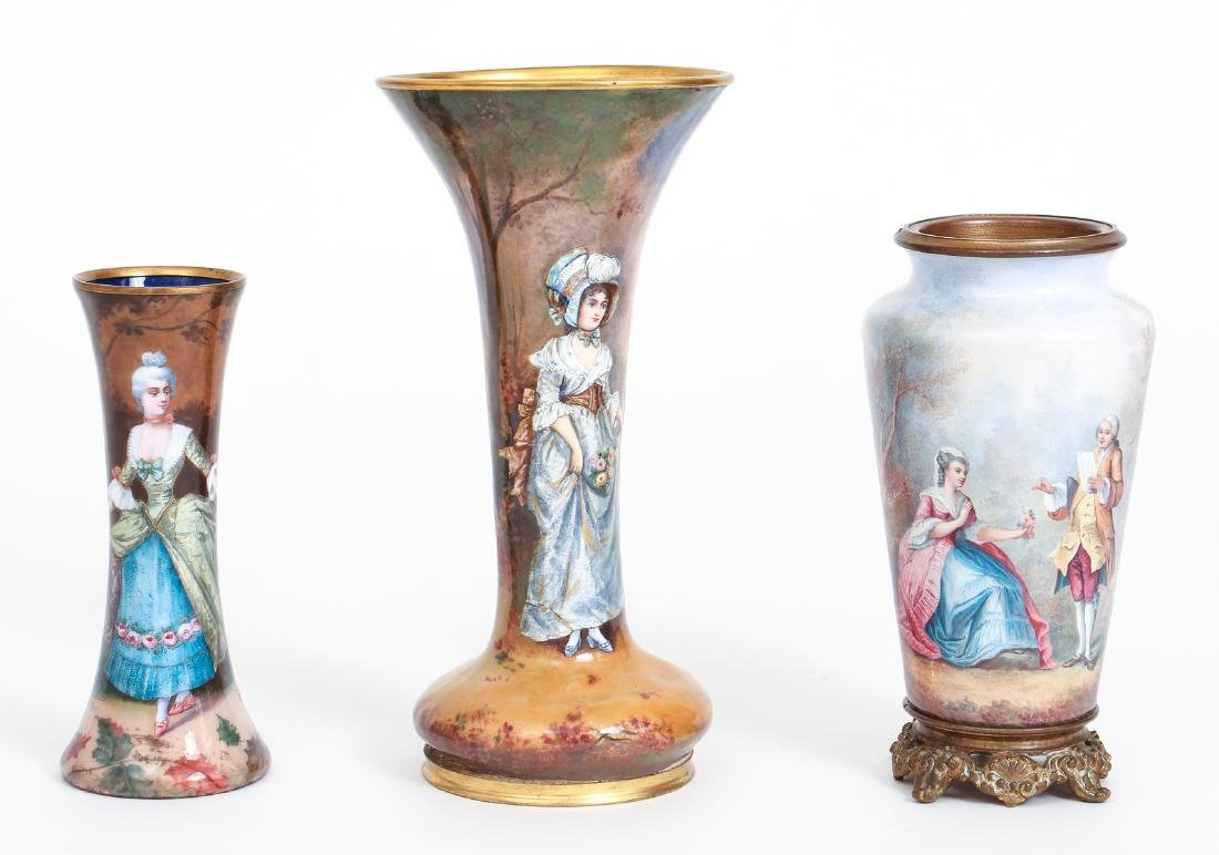 Three Limoges Attributed Pictorial Enamel Vases