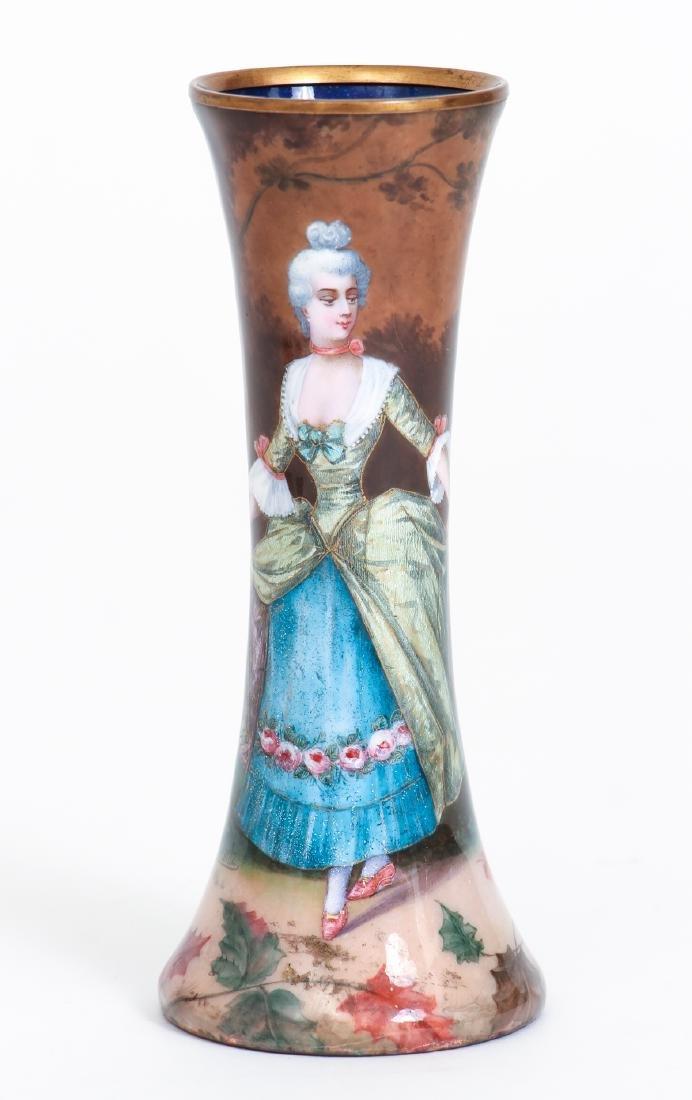 Three Limoges Attributed Pictorial Enamel Vases - 2