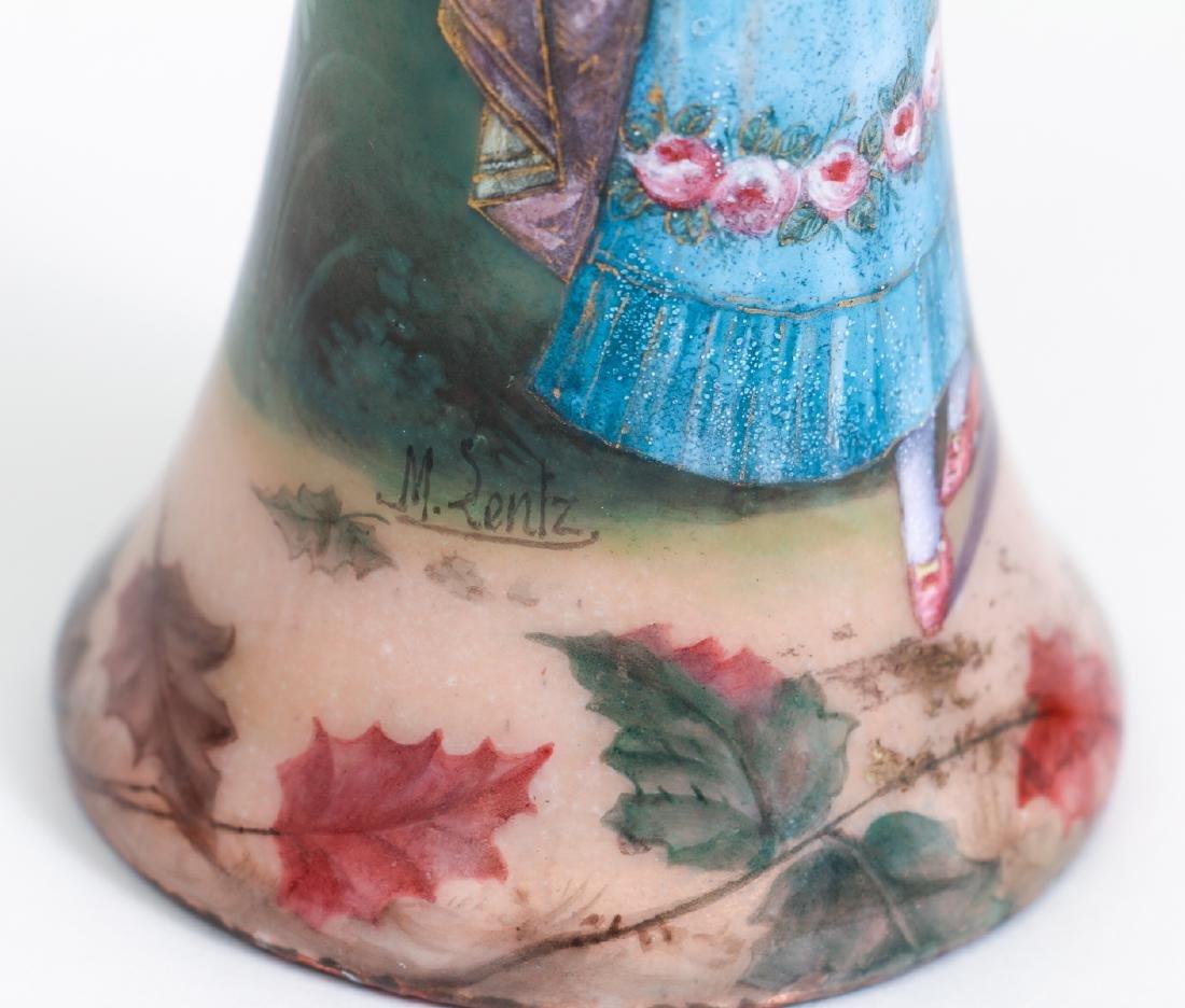 Three Limoges Attributed Pictorial Enamel Vases - 4