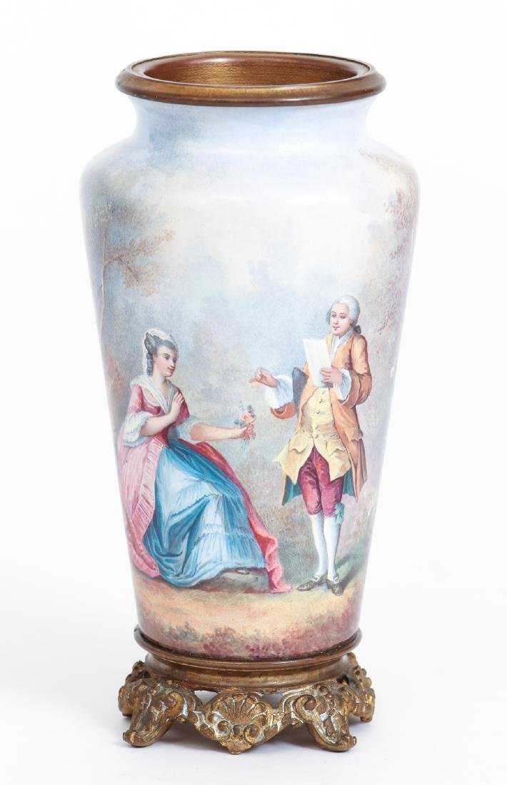 Three Limoges Attributed Pictorial Enamel Vases - 5