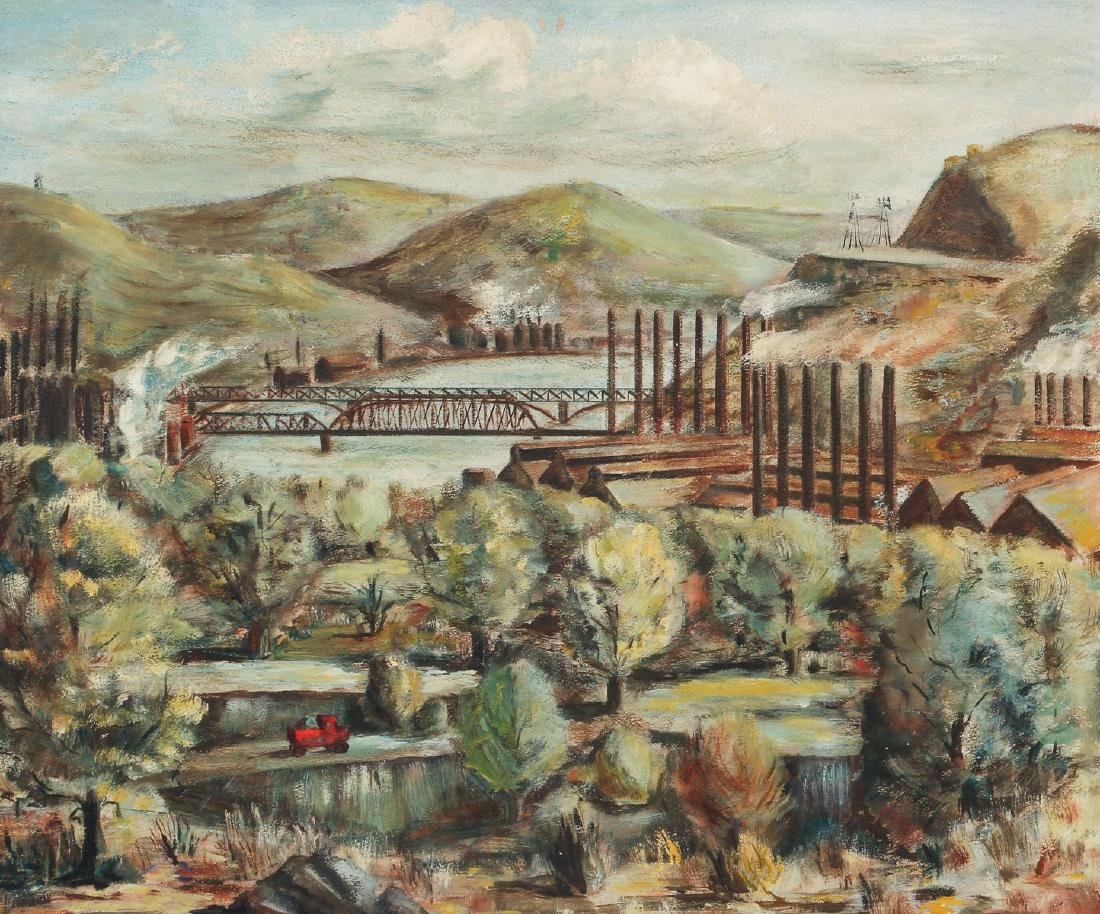 Industrial Themed Pittsburgh Steel Mill Landscape