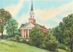 Robert Young Watercolor of a Campbell Chapel Chatham