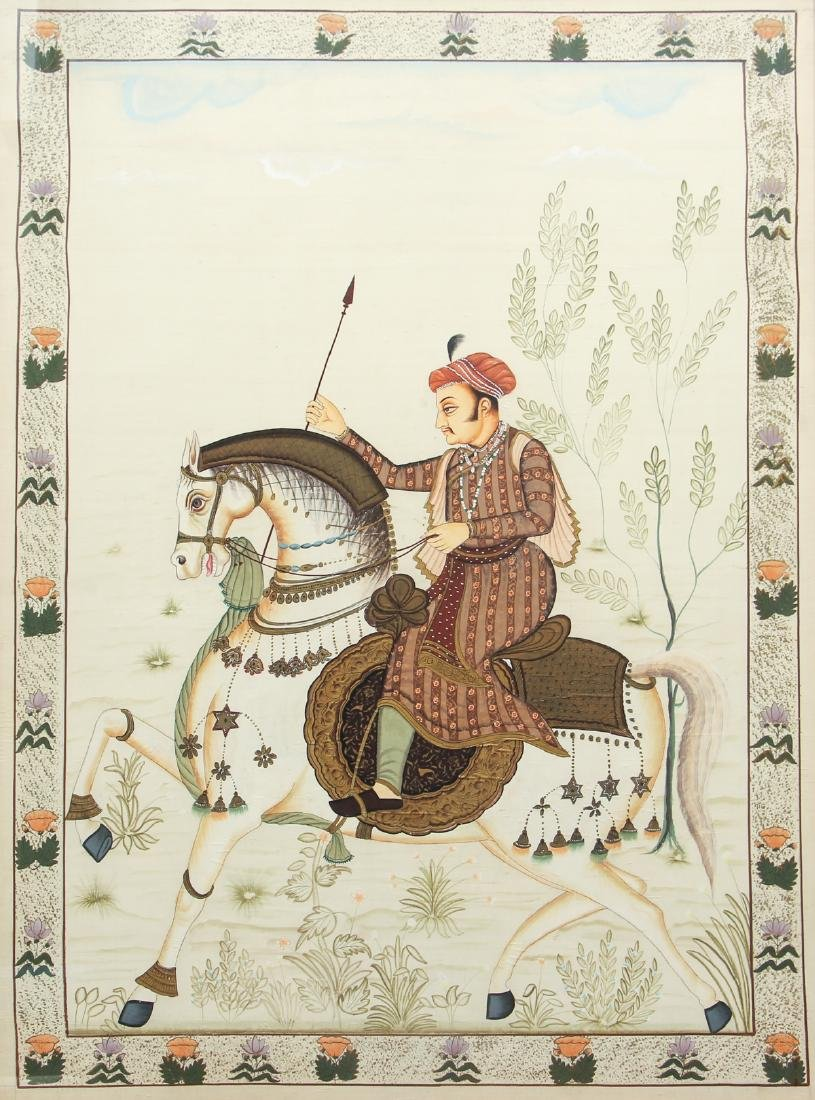 Large Antique Indian Painting Show Nobleman on