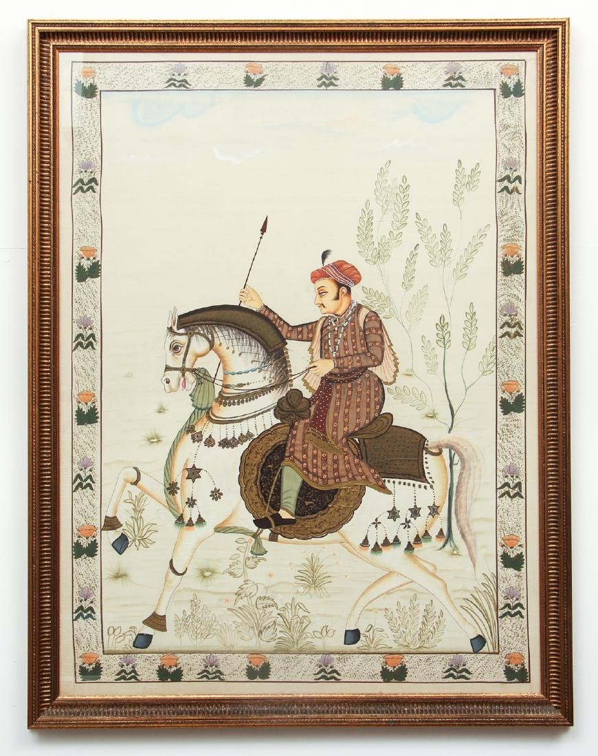 Large Antique Indian Painting Show Nobleman on - 2