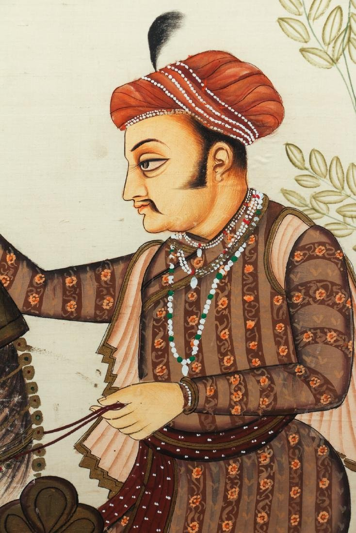 Large Antique Indian Painting Show Nobleman on - 3