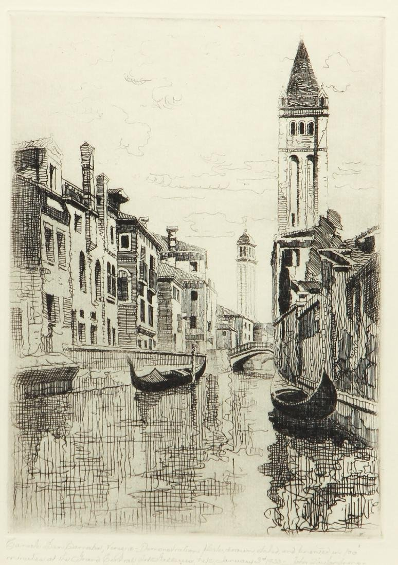 John Taylor Arms Venice Canal Scene Etching