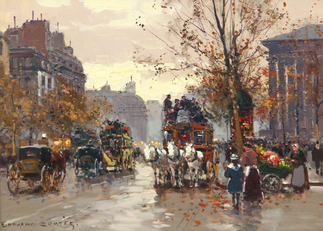 Edouard Leon Cortes Place de la Madelaine Oil on Canvas