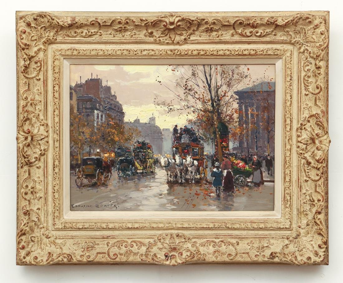 Edouard Leon Cortes Place de la Madelaine Oil on Canvas - 2