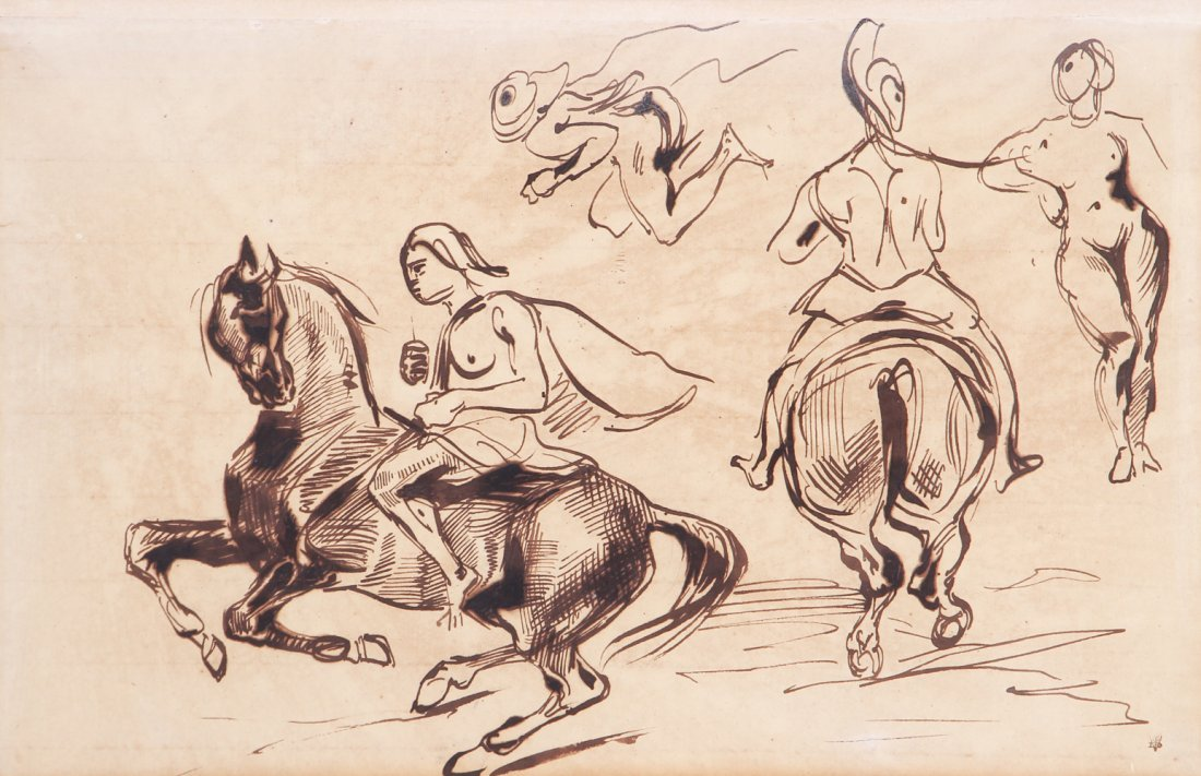 After Eugene Delacroix ink drawing Studies of Amazons