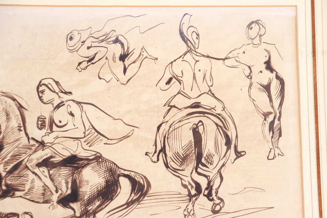 After Eugene Delacroix ink drawing Studies of Amazons - 4