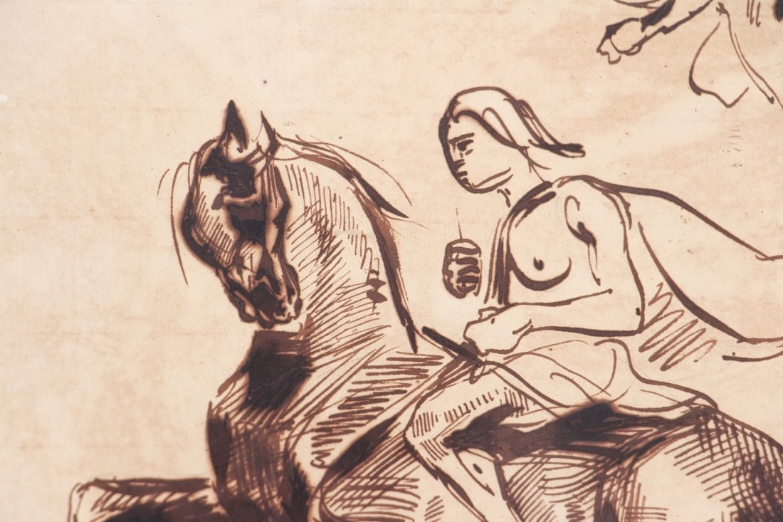 After Eugene Delacroix ink drawing Studies of Amazons - 5
