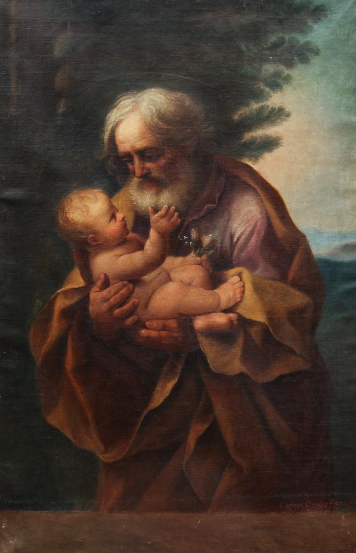Old Master Copy of Guido Reni St. Joseph and Baby Jesus