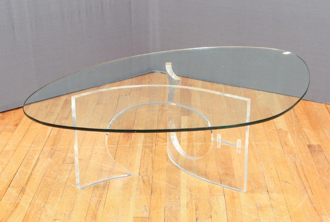 Charles Hollis Jones  Lucite and Glass Coffee Table