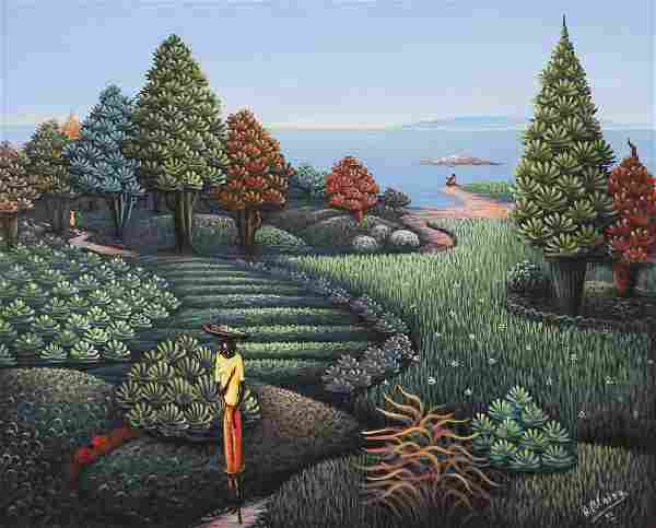 Andre Blaise 1996 Haitian Painting Walking on the Path