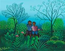 Eric Jean Louis 1985 ptg. Children Walking in Jungle
