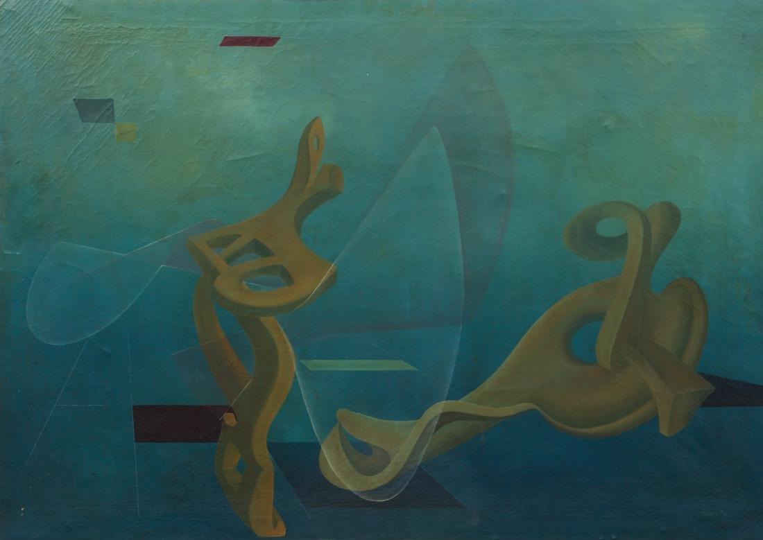 Arthur Rudolf 1953 oil Organic Cubist Forms